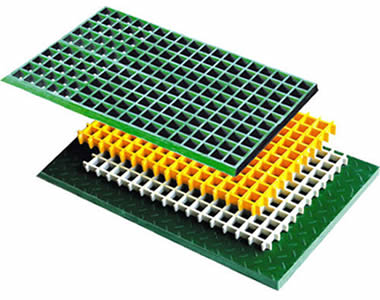 Four FRP gratings, the top one is green, second is yellow, third is white and the bottom grating is green with covered surface.