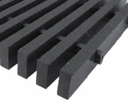 A black pultruded FRP grating with high load bars and sanding surface.