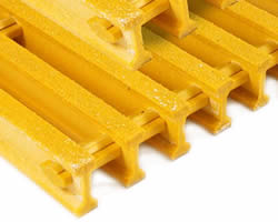 Two pieces of yellow FRP gratings with I-shape bars and sanding surfaces.